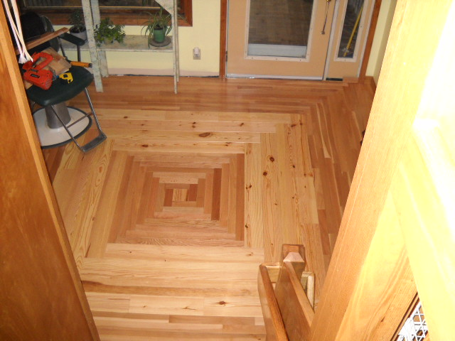 Hardwood Floor with basket weave pattern,wide pine, oak and beech